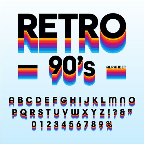 Alfabeto de rayas retro de los 90 vector