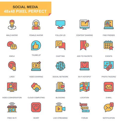 sociala medier och nätverk ikonuppsättning