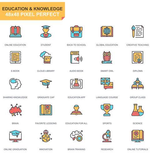 Conjunto de iconos de educación y conocimiento vector