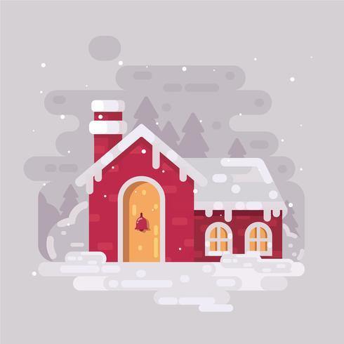 Vector de pueblo de invierno