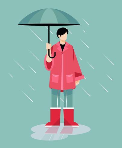 Guarda-chuva de exploração de menino