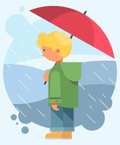 Boy Holding Paraply vektor