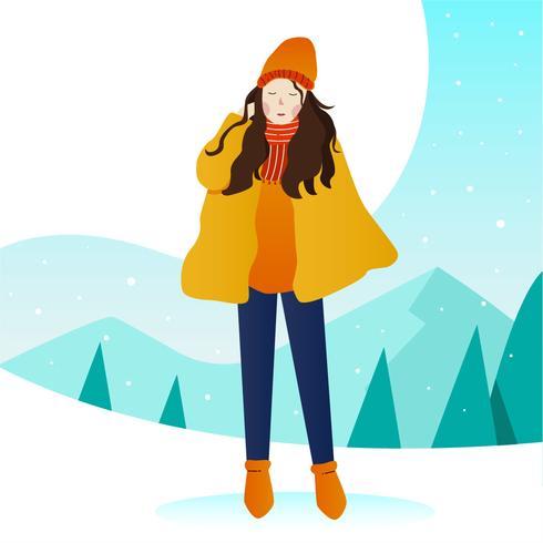 Women Model Potrait Outdoor Winter Vector