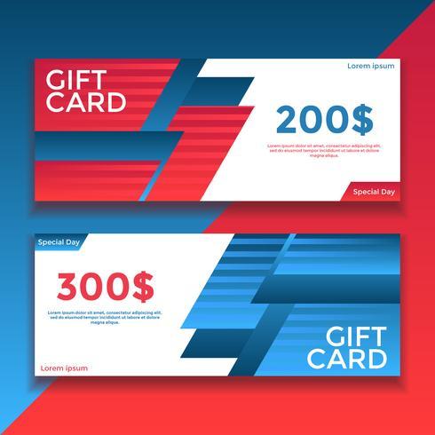 Red Blue Presentkort Voucher Templates Vector
