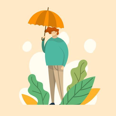 Piso moderno muchacho está sosteniendo paraguas ilustración vectorial