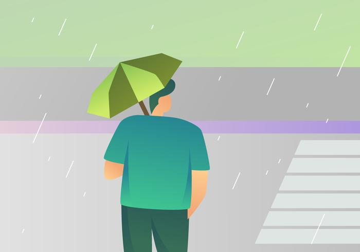 Awesome Boy Holding paraplu vectoren