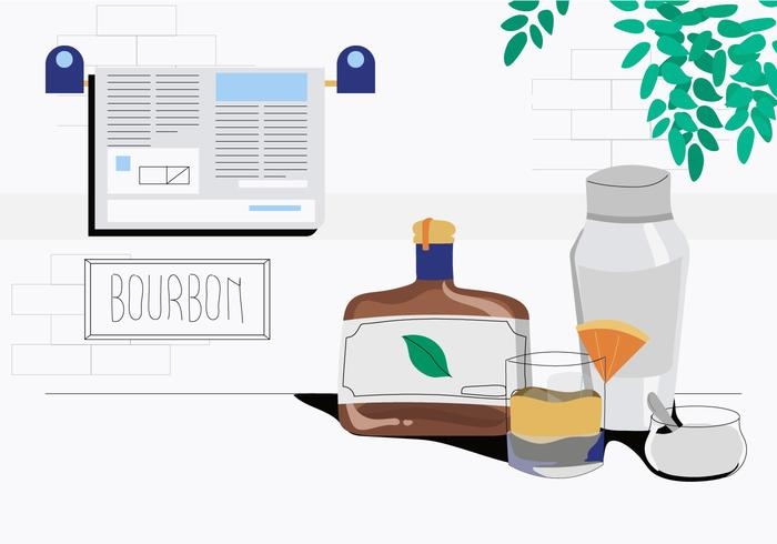 Bourbon Wishky Sur Il Vector Illustration