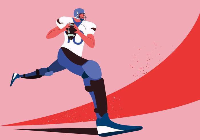 American Football Player Sprint vector Character Illustration
