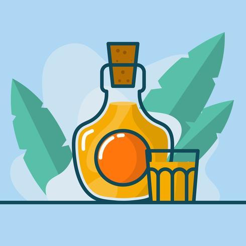 Platte minimalistische Bourbon fles met glas vectorillustratie vector