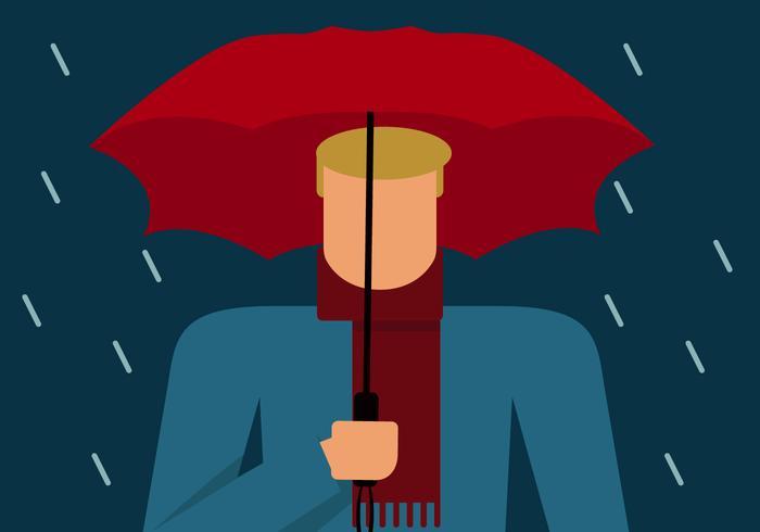 Blonder Kerl mit Regenschirm
