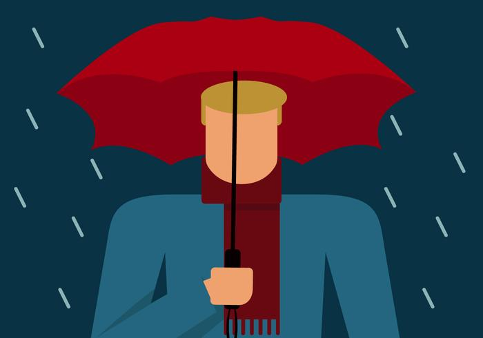 Blonde man met paraplu