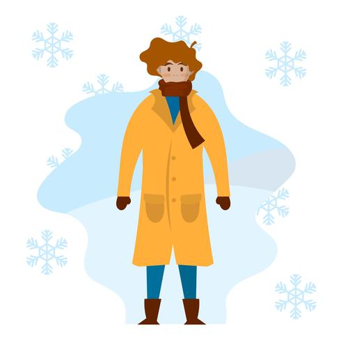 Flat male model with coat portrait in winter outdoors Vector Illustration