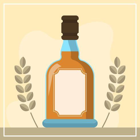 Platte Bourbon fles vectorillustratie