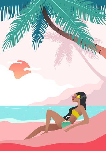 Mujer haciendo actividades de playa