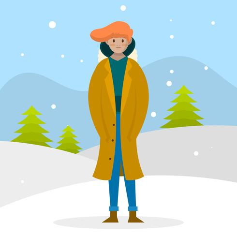 Flaches modernes männliches Modell mit Mantel Porträt im Winter draußen Vektor-Illustration
