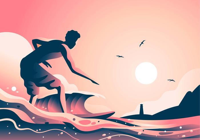 surfa på stranden solnedgången