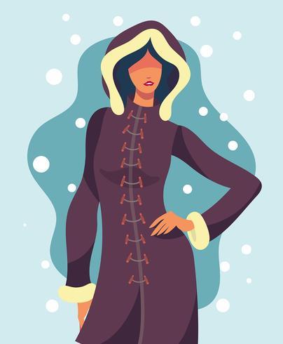 Model Portrait In Winter Outdoors Illustration