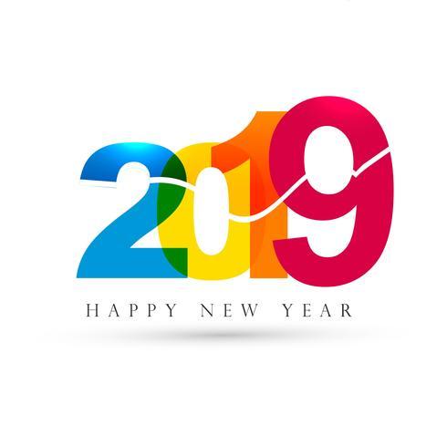 Fondo hermoso hermoso feliz año nuevo texto 2019 vector
