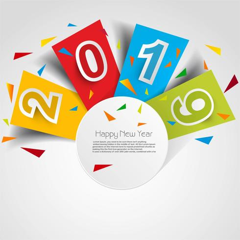 Elegant 2019 happy new year colorful card design vettore