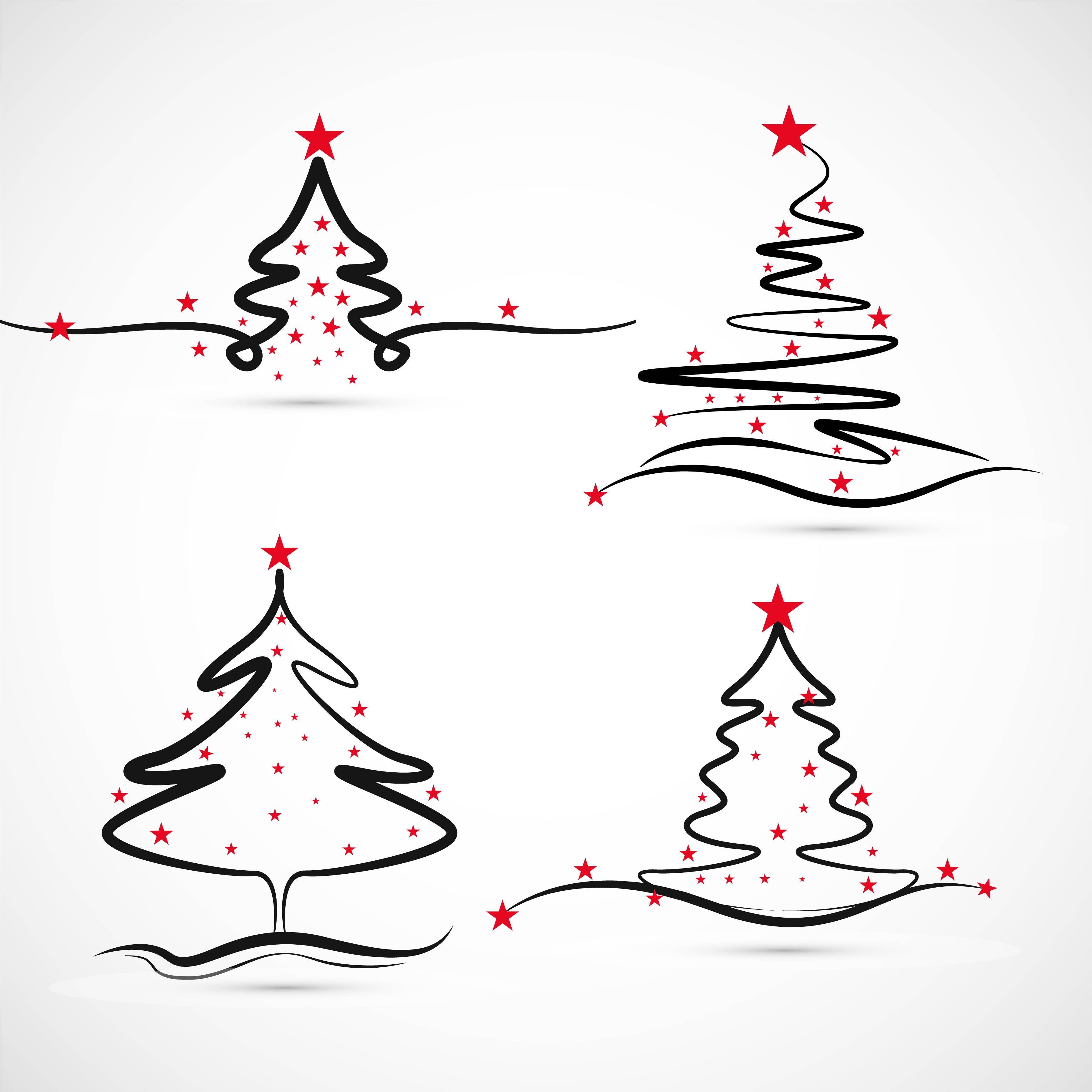 Elegant Merry christmas tree set design vector - Download ...