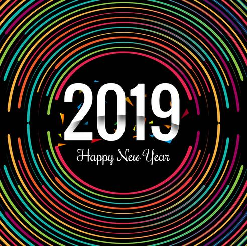 2019 Gott nyår text färgstarka glänsande bakgrund
