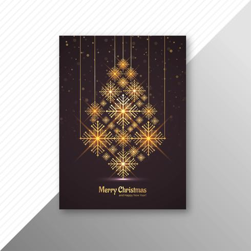 Marry christmas tree brochure template design vettore