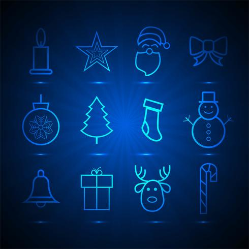 Beautiful christmas icons set elements blue background vettore