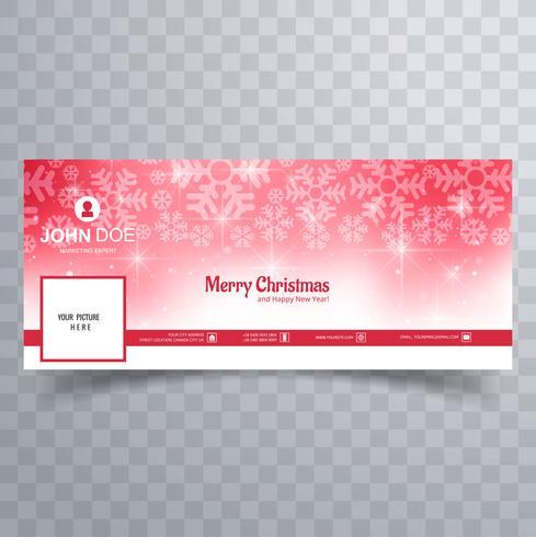Schneeflocke der frohen Weihnachten mit Facebook-Fahnenschablonenvektor