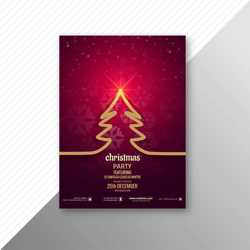 Marry christmas tree brochure template design