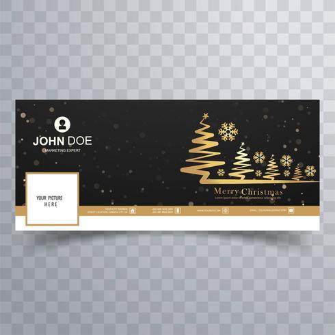 Fröhlicher Weihnachtsbaum mit buntem Schablone desi der Facebook-Fahne
