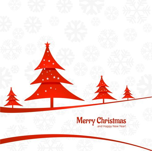 Elegant colorful merry christmas tree card background vector