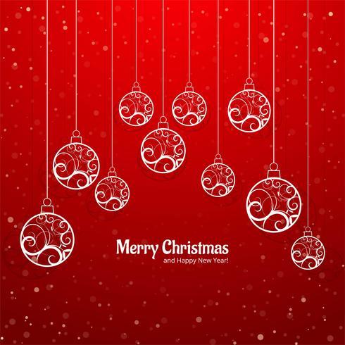 Elegant färgstark glatt julkula hälsningskort bakgrund v