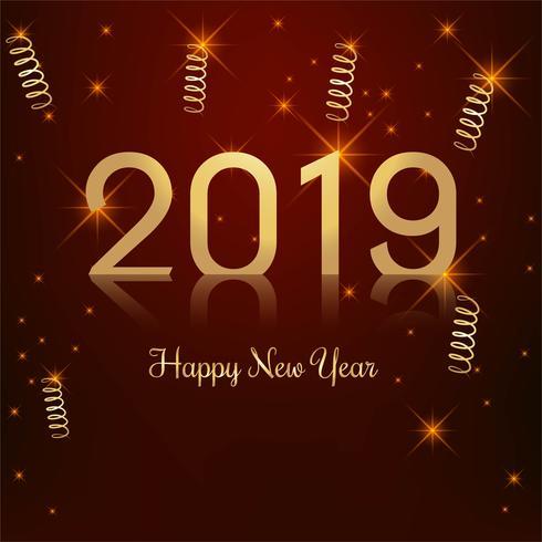 Hermosa feliz año nuevo 2019 con celebración colorido backgrou