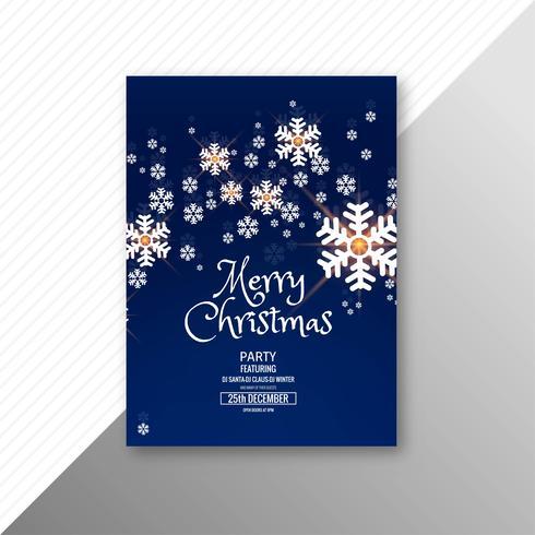 Modelo de folheto de cartão de floco de neve feliz Natal linda vetor