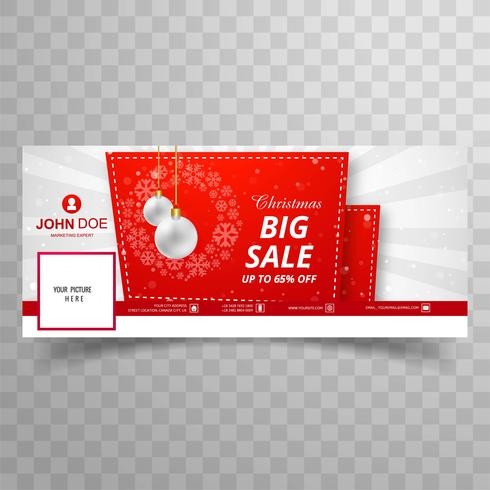 Merry christmas card with facebook big sale banner template desi