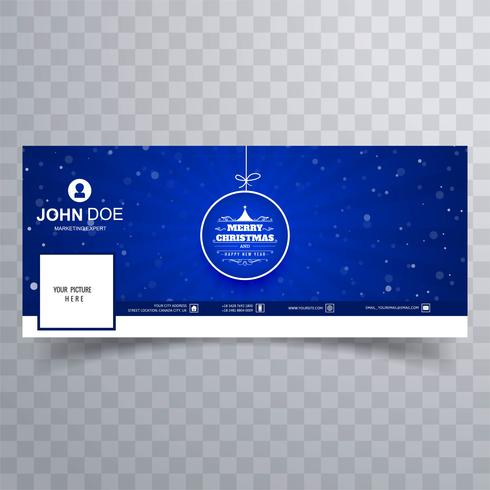 Merry christmas ball with facebook banner template
