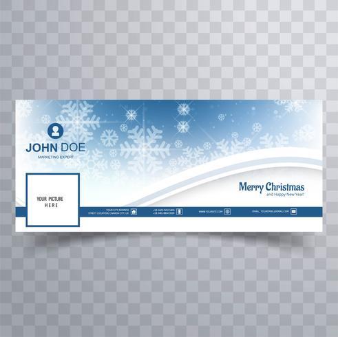 Feliz Navidad copo de nieve con vector de plantilla de banner de facebook