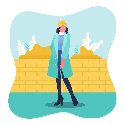 Model Portrait In Winter Outdoors Vector