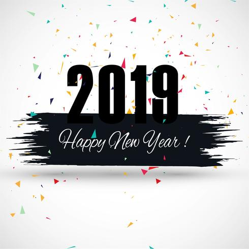 Beautiful Happy New Year 2019 text festival background vector