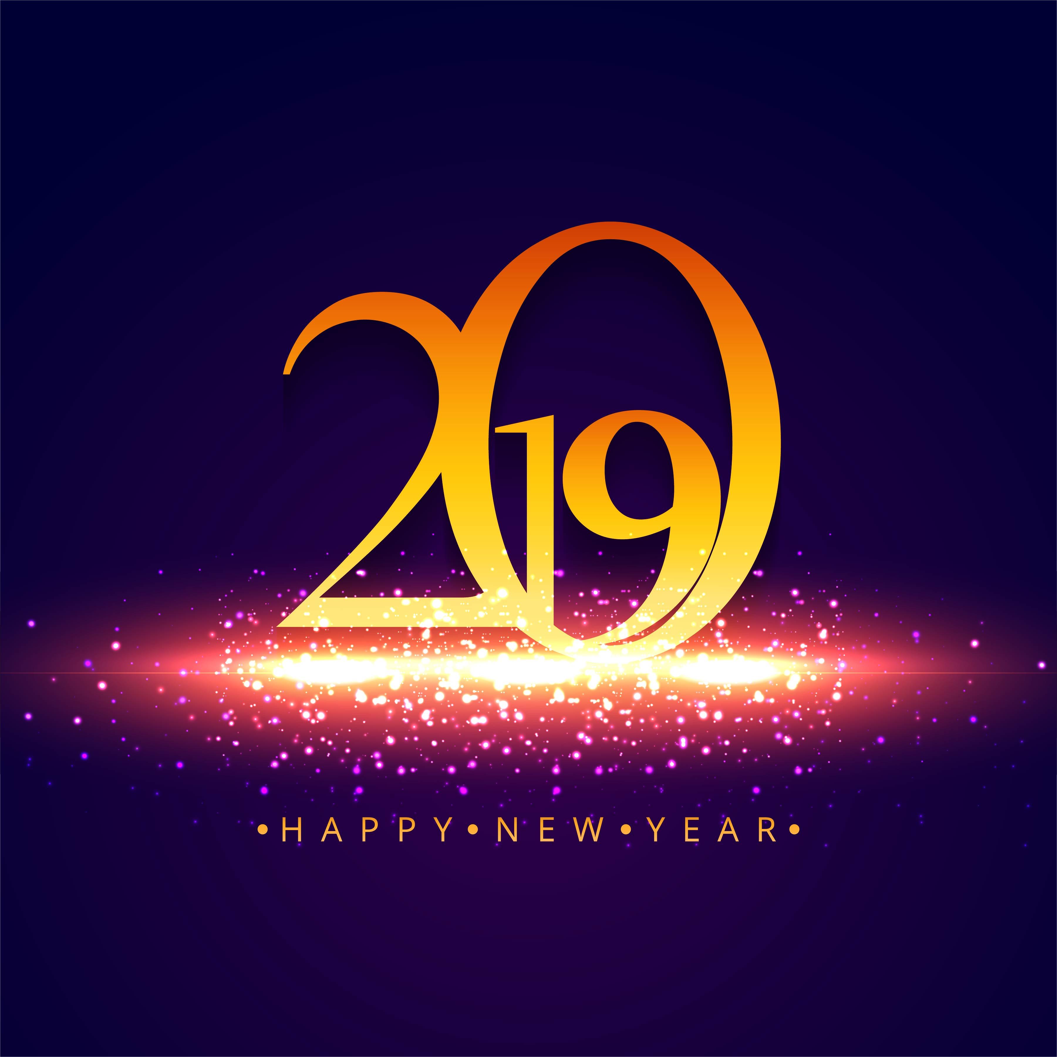 Elegant 2019 happy new year colorful card design ...