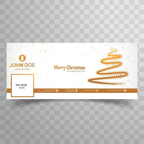 Merry christmas tree with facebook cover banner template vector