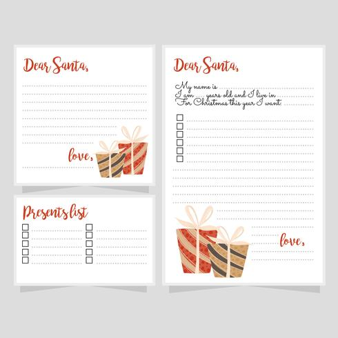 Vector Santa's Letter Templates