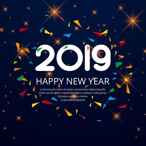 Beautiful Happy New Year 2019 text with confetti background