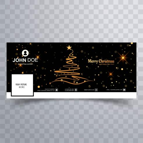 Merry christmas tree with facebook banner template