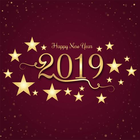 Mooi Gelukkig Nieuwjaar 2019 met viering kleurrijke backgrou