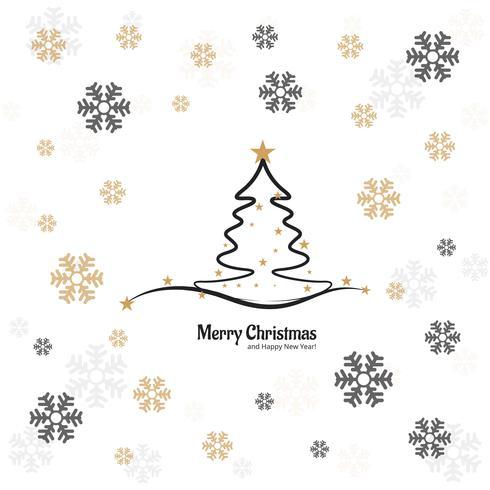 Cartão de feliz Natal árvore elegante com design de floco de neve