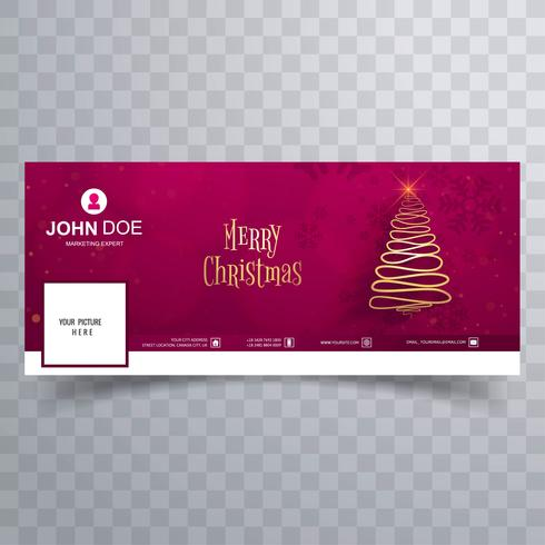 Merry christmas tree with facebook cover banner template