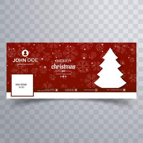 Joyeux arbre de Noël avec la bannière facebook modèle coloré desi