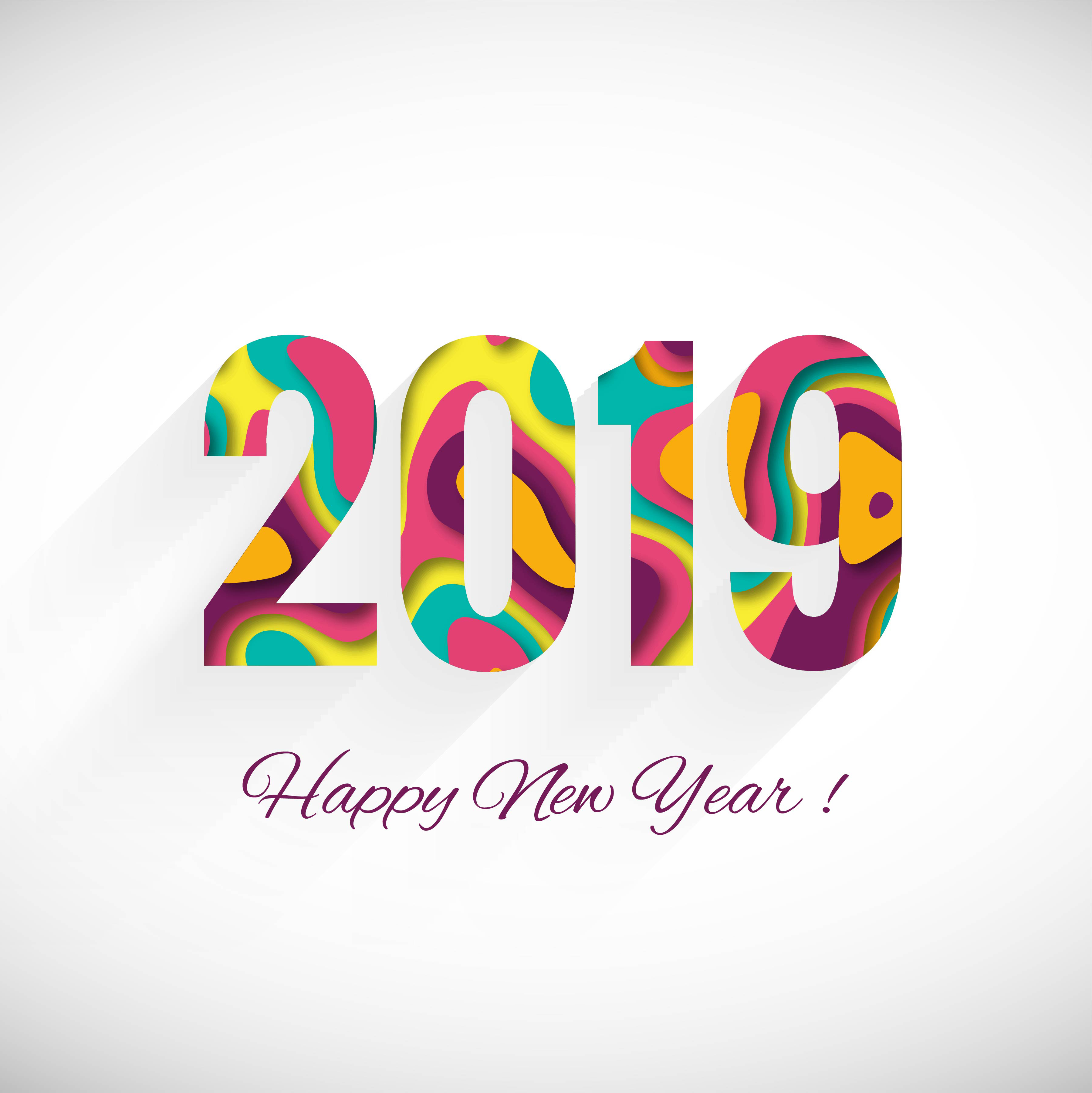 2019: Happy New Year 2019 Card Celebration Colorful Background