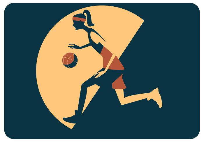 Kvinna Basket Player Vector